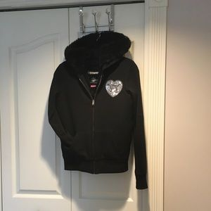 PINK Black Fur heart sequin bling winter hoodie XS
